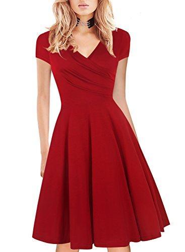 Casual Elegant HELYO femmes mancherons robe rétro Wrap V-cou Une ligne de travail swing Robes 163