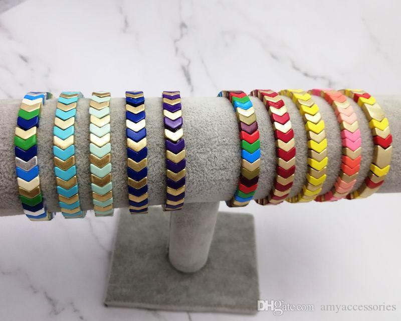 Personalizza bracciali a forma di V Painted Elastic Arcobaleno Pittura Chevron in rilievo di stirata braccialetto per i monili del regalo di Natale delle donne