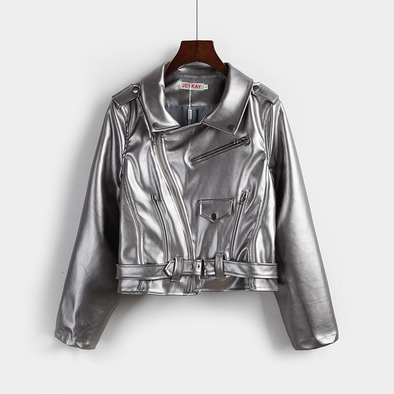 النساء الشرير كول نمط سترة قصيرة جلدية بو معطف بدوره إلى أسفل الياقة الفضة عن جيوب وعن زيبر سترة أبلى