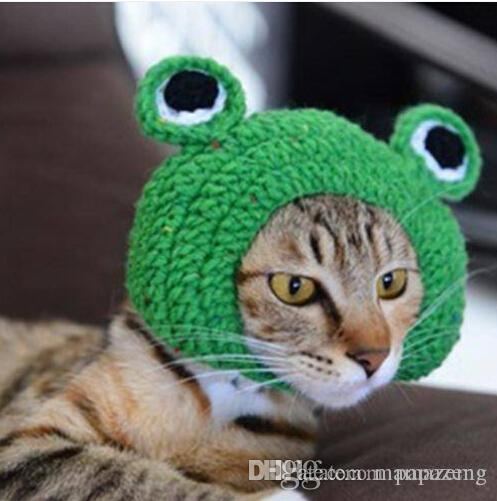 2019 vendas !!! atacado frete grátis Handmade DIY Pet Cat Dog criativo sapo Design Hat chapéu de malha quente presente