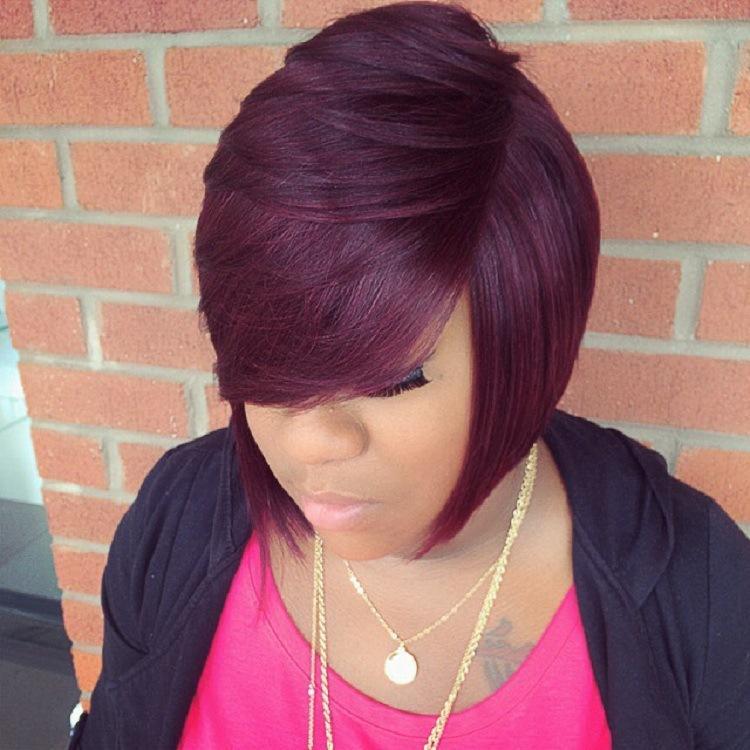 African Wine red Short Hair Straight Hair Fluffy Wig Chemical Fiber Hair