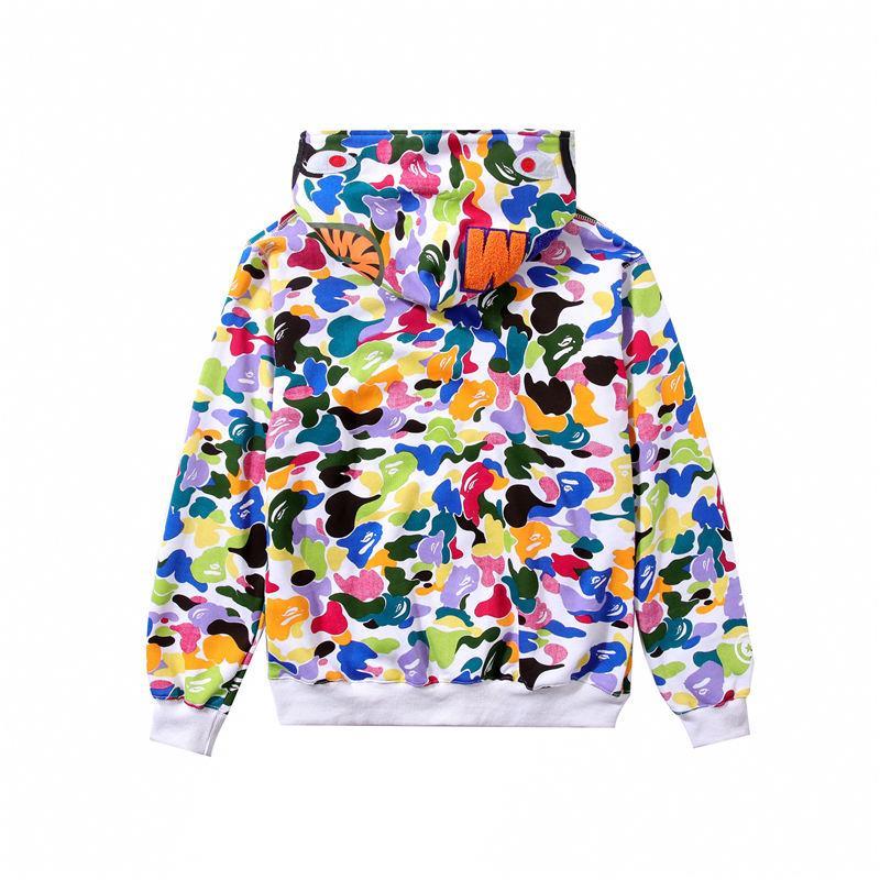 Colorido diseñador hombres abrigo manga larga marca chaqueta con cremallera con capucha Hip Hop Streetwear suéter hombres moda estilo Cardigan Top M-2XL