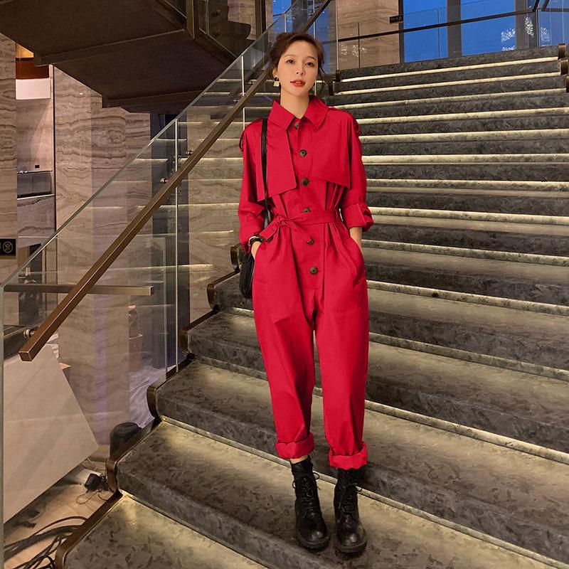 İlkbahar Sonbahar Kadınlar Uzun Kollu Gömlek Tulumlar Kadın Streetwear Hip Hop Artı boyutu tulumları tulum Pantolon Kargo Pantolon takımları