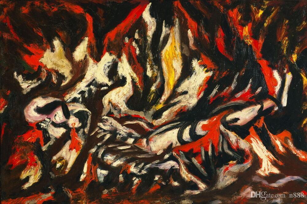 Jackson Pollock La Fiamma decorazione domestica dipinta a mano HD Dipinti Stampa Olio Su Tela Wall Art Immagini 200206