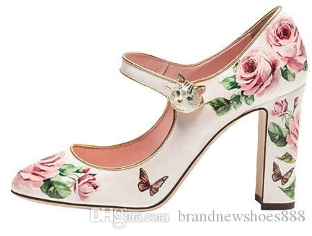2019 Kitty High Heel Shoes Woman Round Toe Butterfly Flower Decor Mary Janes Pumps For Women Wedding Shoes
