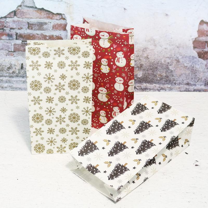 10pcs Kraft Paper Bags Candy Wrapping Snowman Snowflake Flower Cookie Packing Gift Bags Xmas Decoration Party Favor Stand Bags