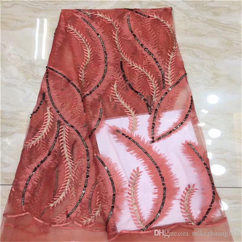 Tessuto del merletto ricamato Tulle 2019 merletto africano Tulle Pizzo Tessuto nuovo francese di alta qualità del tessuto 5Yards / fiori per le donne si vestono
