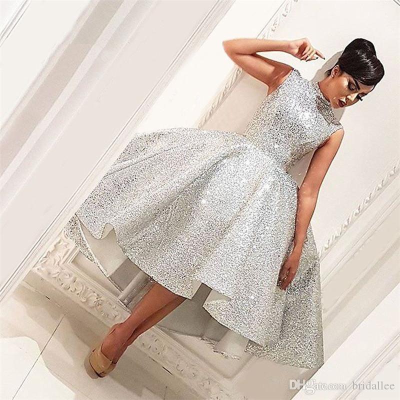 Vestidos de fiesta Vestidos de fiesta cortos con lentejuelas plateadas Jewel A Line Vestido formal