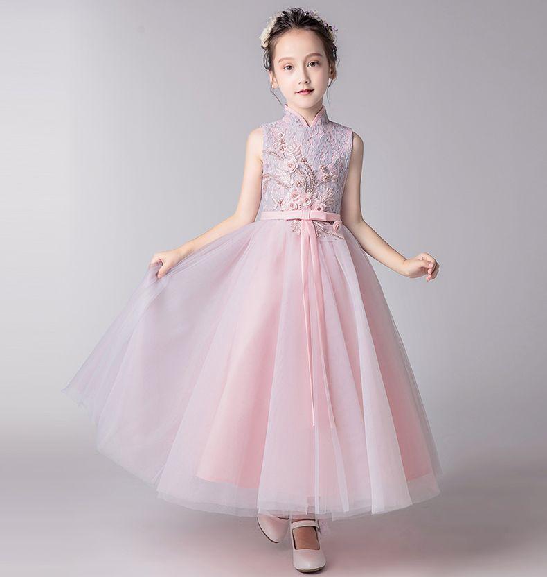 Oldukça Pembe / Gümüş Aplike Bilek Kız Yarışması Elbise Çiçek Kız Elbise Prenses Parti Elbise Çocuk Etek Custom Made 2-14 H315381
