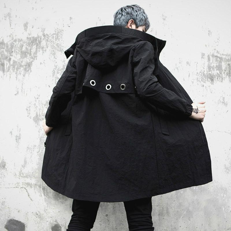 Trench coat with men's, fashion casual high-hip trenchcoat for men, raincoat, spring Autumn, long coat for M-XL