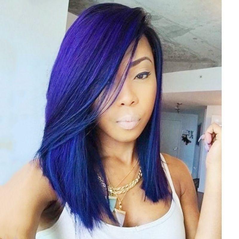 Hot Moda 2 tons de preto Ombre Azul Curto Bob Wigs Calor Resisitant Glueless sintética peruca dianteira do laço 180% Densidade Cosplay perucas para mulheres