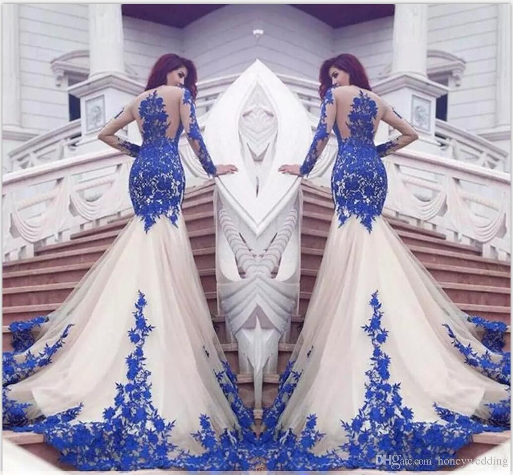 Длинные рукава Русалка вечернее платье синий кружева аппликация Формальные Длина партии Pageant платье пола сексуальное платье выпускного вечера