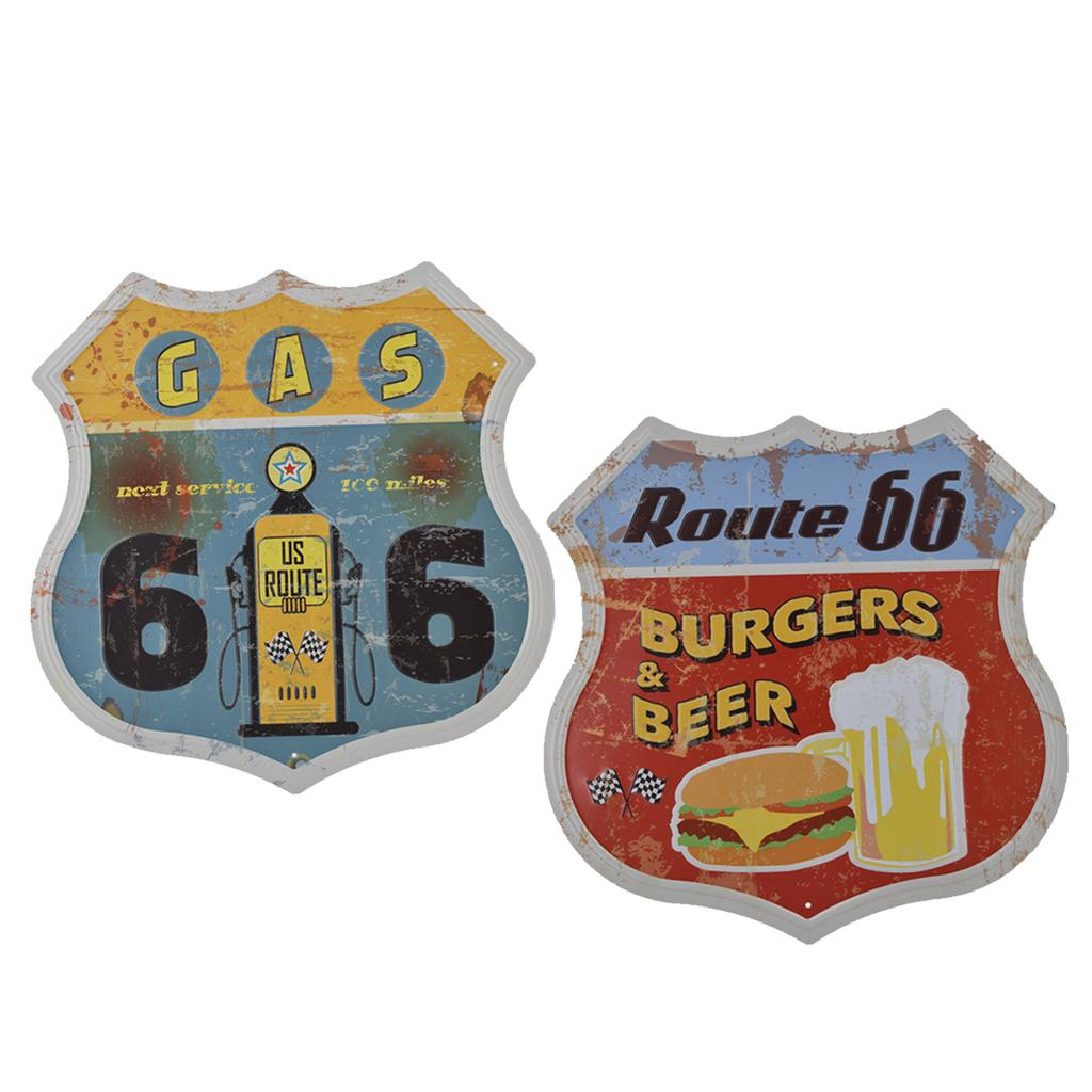 2 Pieces Shabby Chic Shield Shape Retro Metal Tin Sign US Highway Plaque Posters Art Plaque Motel Garage Plate Wall Art Decor