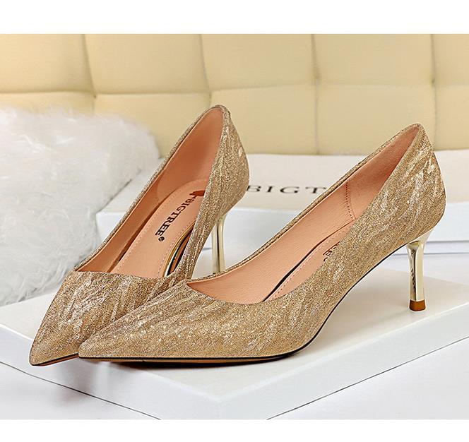 5 centimetri 7 centimetri 9 centimetri scarpe da sposa tacchi alti promenade dell'abito di scarpe da sera di metallo sottili tacchi a punta scarpe discoteca tradingbear