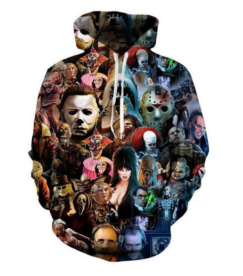 Mode 3D Imprimé Halloween Caractères Hommes Femmes PulloVer Hoodies Street Wear Casual Hip Hop Poches Sweat-shirt Vêtements ZGXL0100