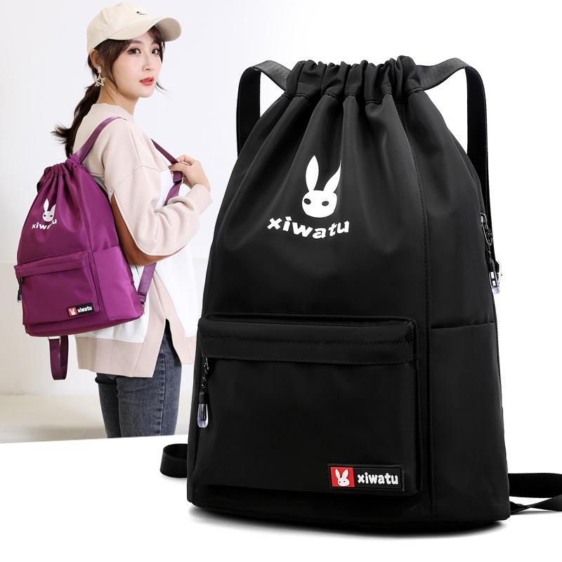 Neue Strahl Tasche Kordelzugbeutel weibliche Rucksack einfache Schultasche mit großem Kapazität Sport-Fitness-Tunnelzug Reiserucksack