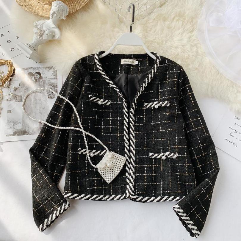 Taotrees Vintage Sonbahar Tweed Coat Hırka Ceket Coat Kadın Dış Giyim Ekose İnce Ç Boyun Kadın Mini Dış Giyim Top