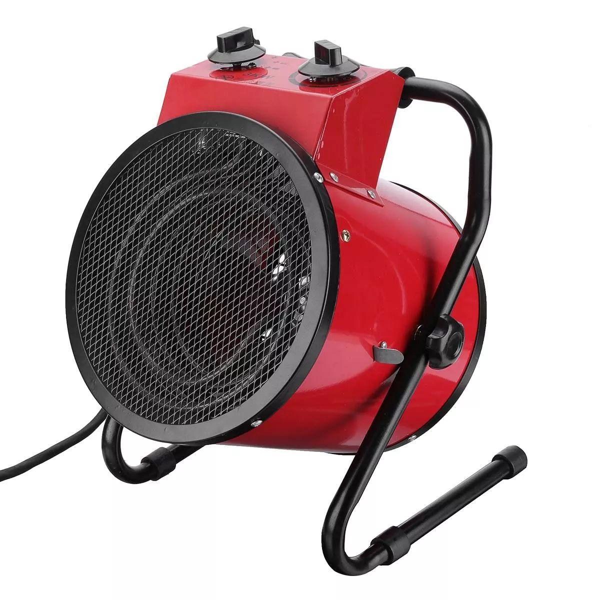 3KW 220V Industrial Electric Heater Fan Heavy Duty Air Heater Adjustable Commercial Warm Air Blower