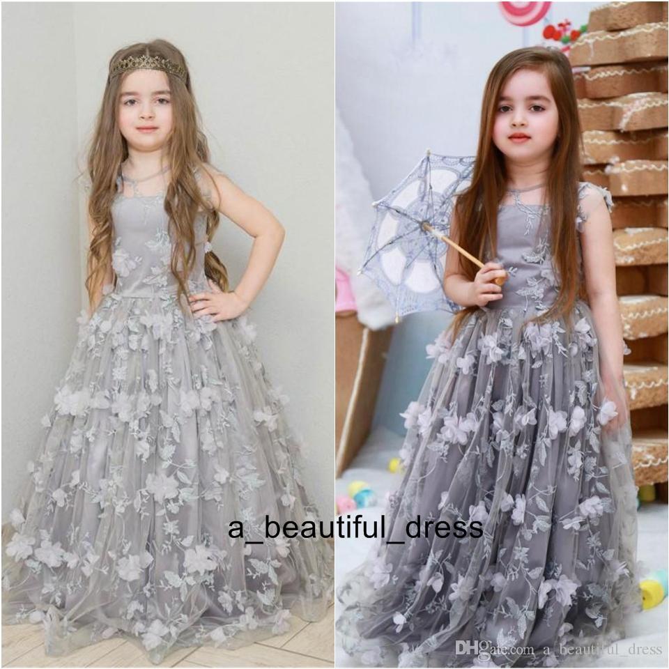 Silver Flower Girl Dresses For Weddings 3D Floral Appliqued Print Princess Little Baby Gowns Vintage Long Communion Pageant Dress FG1315
