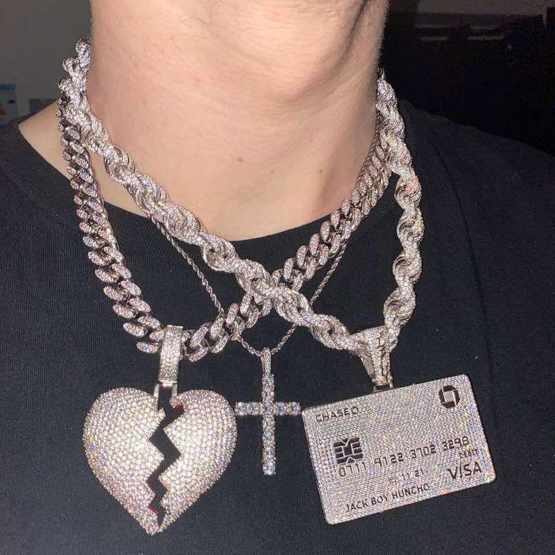 목걸이 액세서리 18K 골드 도금 VISA 신용 카드 펜던트 목걸이 마이크로 포장 된 큐빅 지르콘 힙합 랩 DJ 남성의 보석 선물
