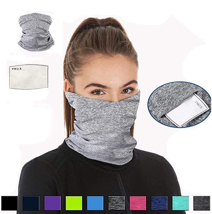 Livre DHL cobrir o rosto Neck Gaiter Windproof Scarf respirável para Ar Livre Multi-Purpose Máscara Bandanas com PM 2,5 Filtro máscaras X150FZ