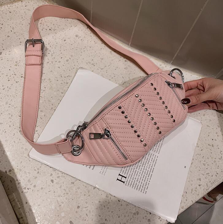 크로스 바디 여자 가방 리벳 지퍼 허리 가방 디자이너 명품 여성의 어깨 가방 여성 PU 가슴 가방 멋진