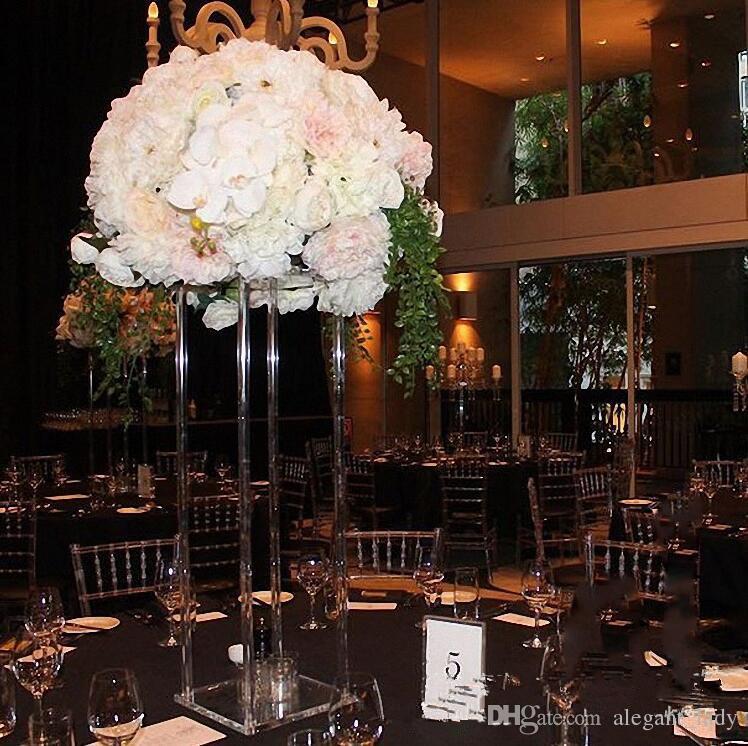 نمط جديد واضح الزفاف طويل القامة الاكريليك الكريستال أعمدة الجدول محور الزفاف زهرة حامل للزينة الجدول