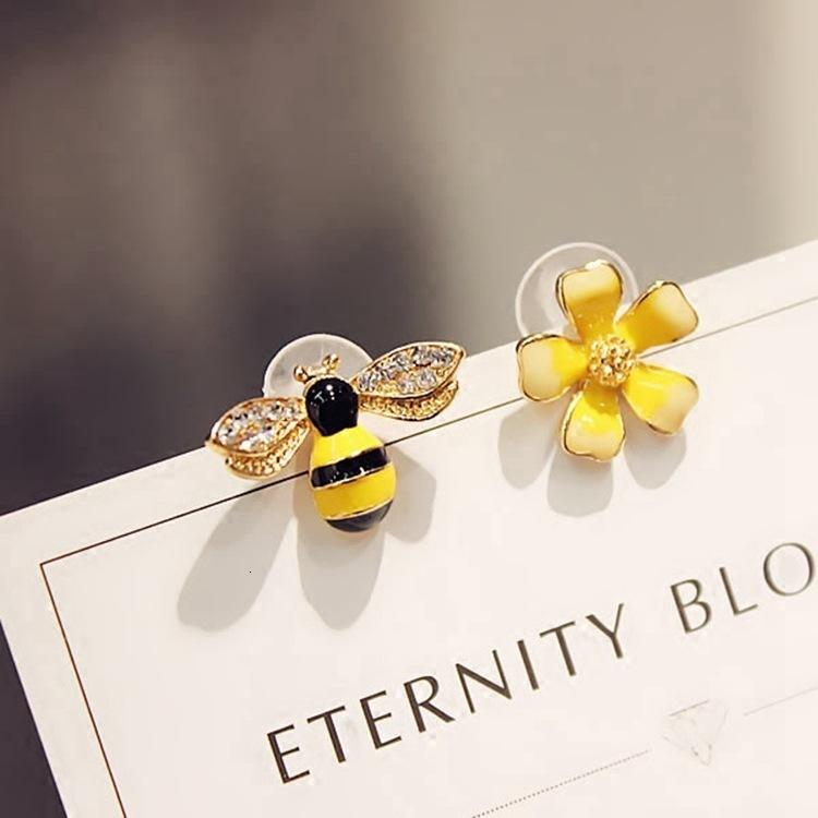 한국 귀걸이 기질 개성 귀걸이 불균형 꽃 장식 못 귀걸이 꿀벌 귀 보석