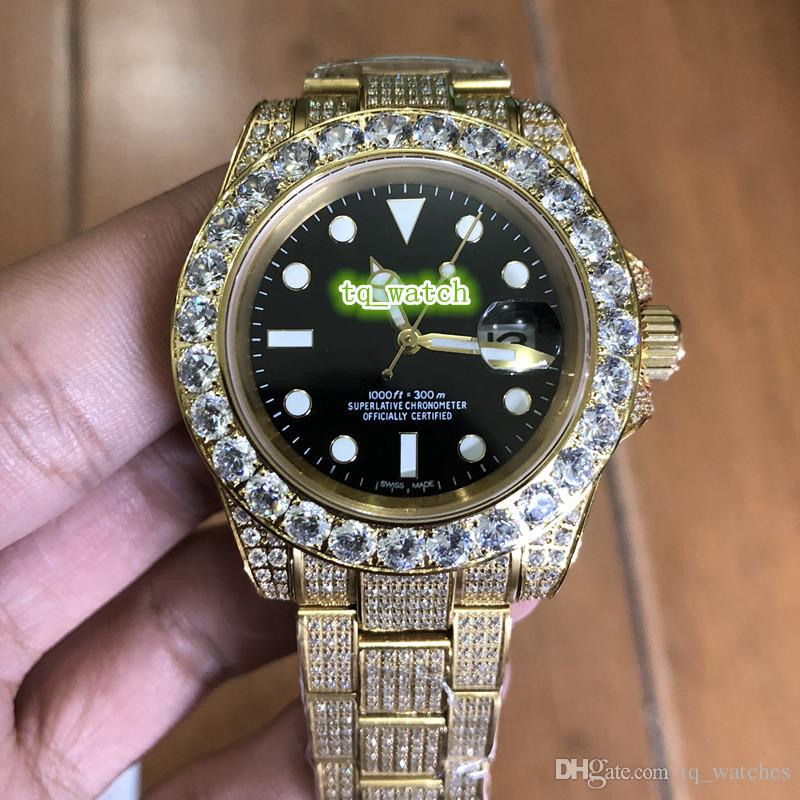 Luxury Diamond's Iced Out Diamond Watch Black Face Orologio in acciaio inossidabile pieno di diamanti in acciaio inossidabile Orologi automatici da uomo