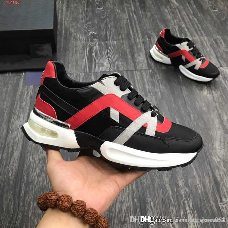 Zapatos casuales de cuero genuino para hombre, zapatillas de deporte de gran tamaño de diseño Clásico con tachas de cuero para hombres zapatos deportivos con talla de caja 38-45
