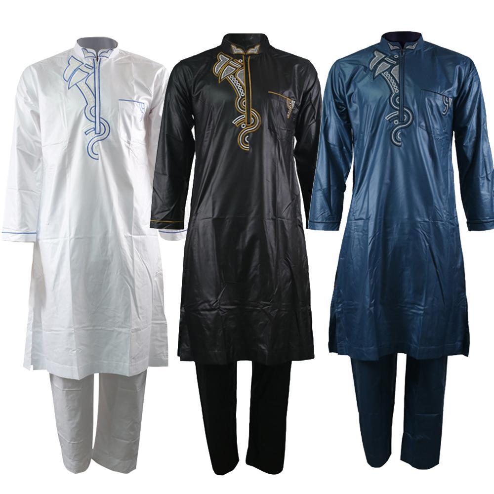 Jubba thobe für Männer Kaftan Männer muslim Anzug Stickerei islamische Kleidung agal Dschelläba arabischen Kleidung Hosen Muslim set 2019