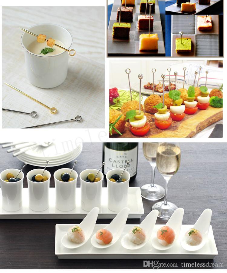마티니 칵테일 장식 와인 바늘 304 스테인레스 스틸 과일 바늘 4 스타일 칵테일 로그인 바 칵테일 도구
