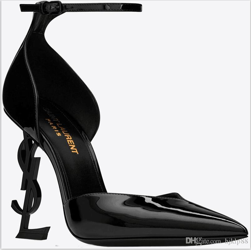 2019 Diseñador Tacones altos Otoño Zapatos de mujer Punta puntiaguda Boda Noche Vestidos de fiesta Zapato Mujeres Mujeres atractivas Modas Zapatos de bombas negros