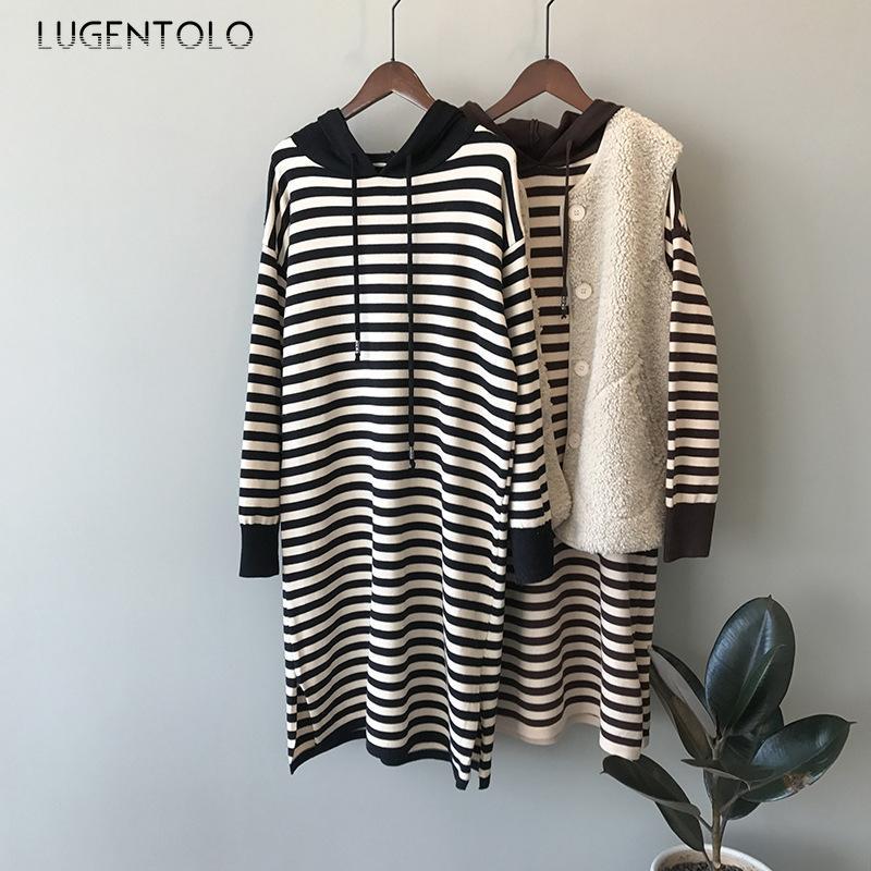 Lugnetolo Kadın Triko Sonbahar Kış Kapşonlu Kore Lazy Yatay Çizgili Gevşek Günlük Moda Örme Basit Uzun Kazak