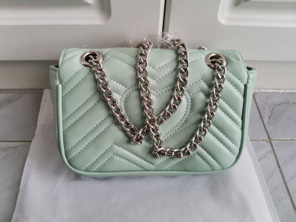 Yüksek Kalite Moda kadınlar Omuz çantası Pu deri altın gümüş ve şerit zincir çanta Crossbody Messenger çanta Bayan çanta cüzdan 1732 # 26cm
