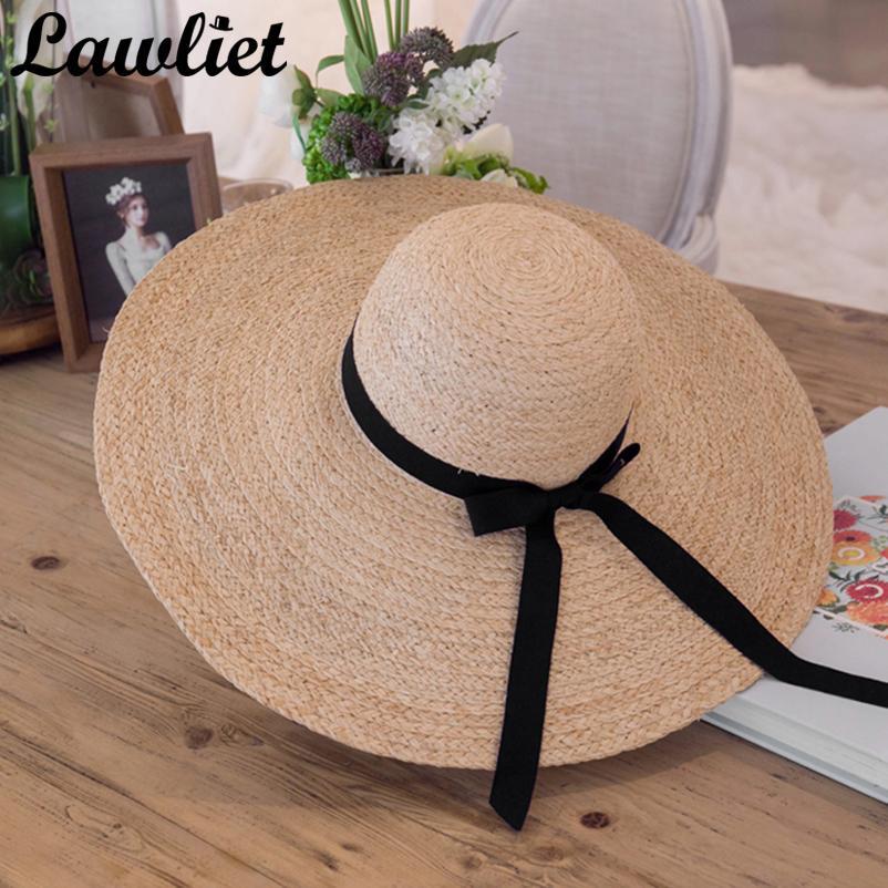 Summer Women Hat Kentucky Derby Hat 18cm Large Wide Brim Raffia Straw Hats Feminino Floppy Sun Beach Cap Summer Hats for Women