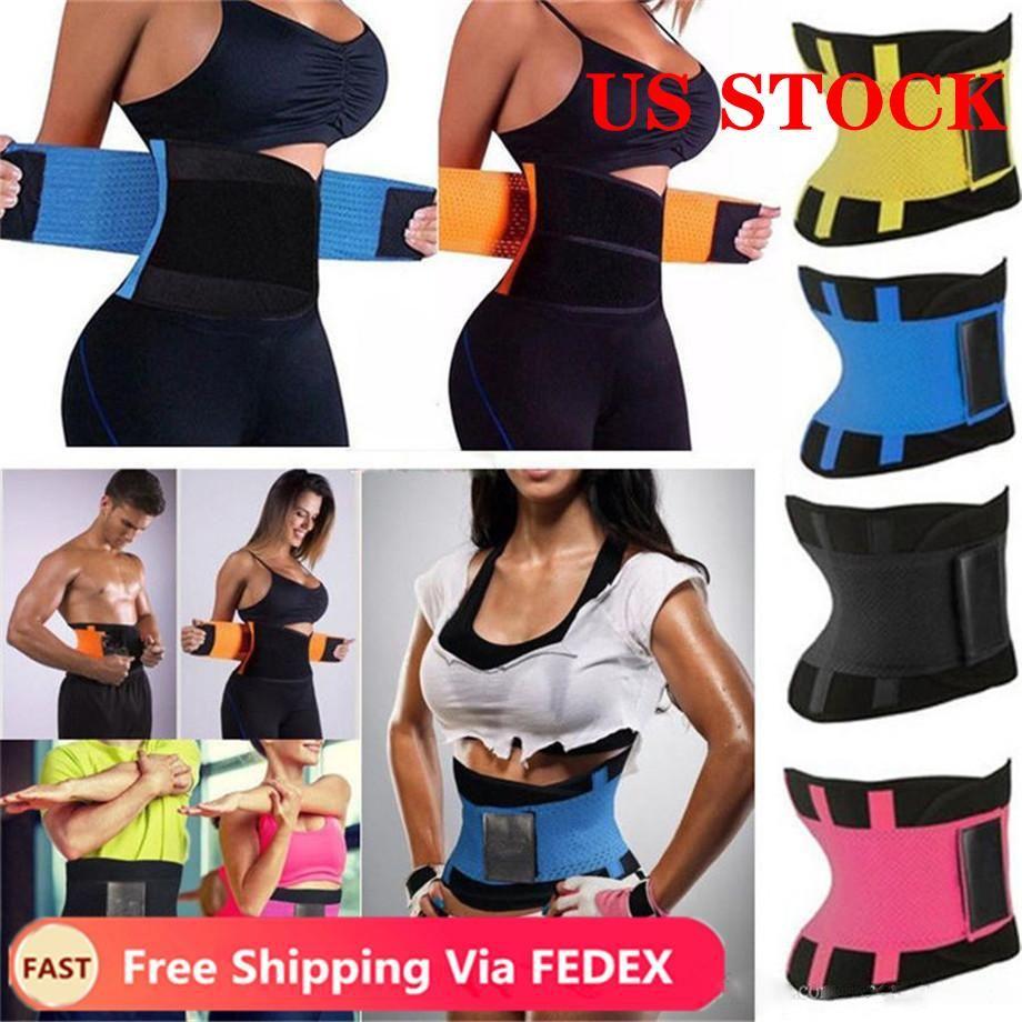 De los Estados Unidos! FY8052 shippng cintura Trainer Reductora Hombre Mujeres Xtreme Thermo Poder Faja Faja Cinturón de Underbust del corsé de control Firma