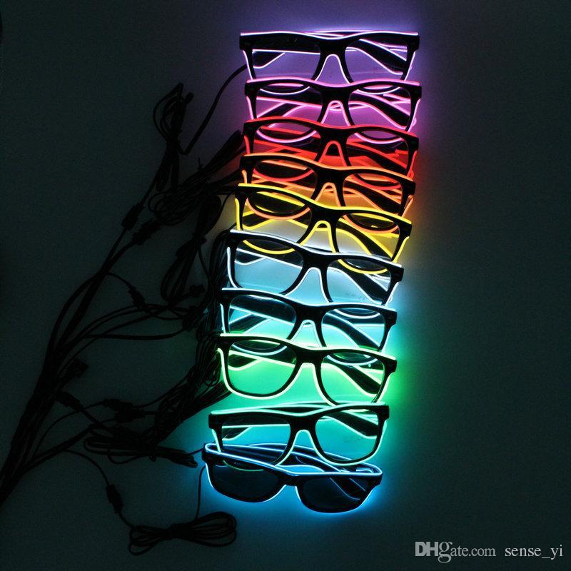 LED EL Wire Glasses Light Up Glow Sunglasses Eyewear DJ Nightclub Party 3V Drive