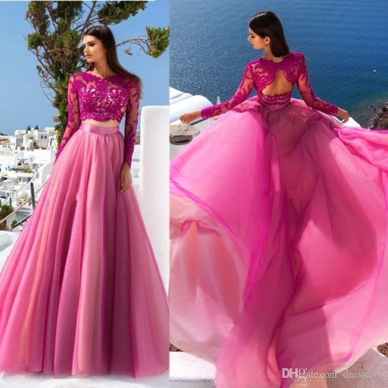 Fuchsia Two Piece 2020 Prom Dress Long Sleeves Lace Tulle Sheer A Line Evening Party Gowns Formal Pageant Wear