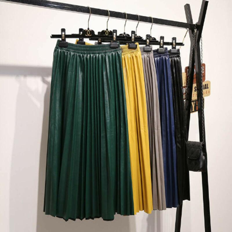 2020 Spring New Fashion Women's ALL match Elastic High Waist Pleated Candy Color Half Length Elastic Skirt Promotions Lady Black