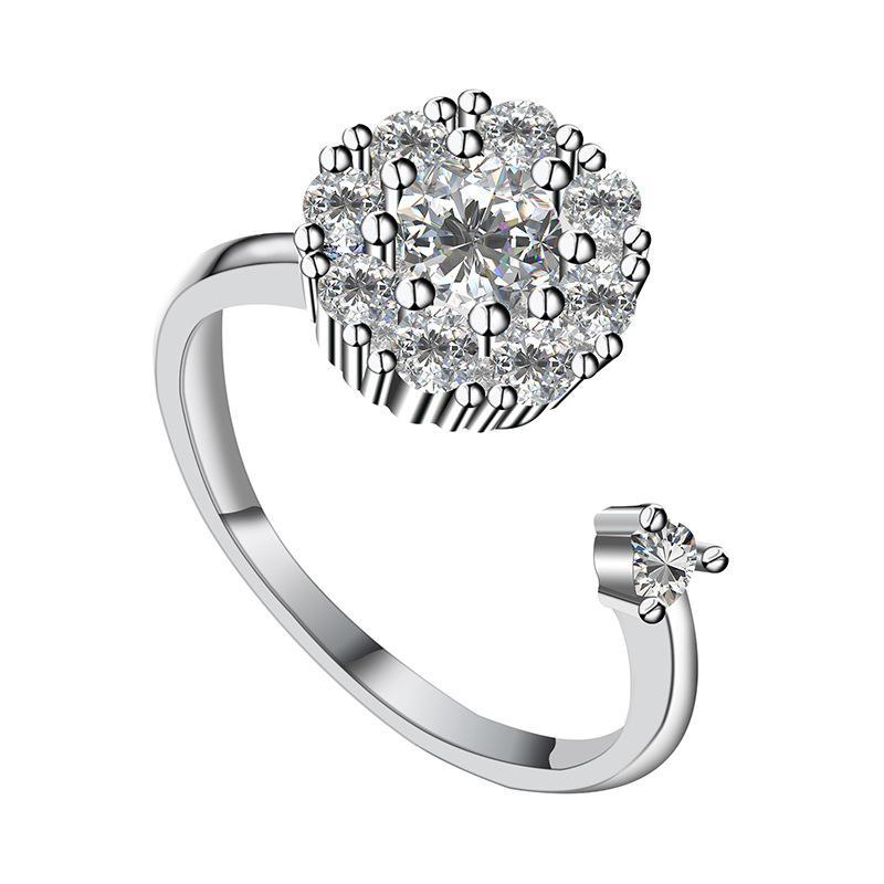 트렌디 한 파티 오픈 링 지르콘 ANEL Feminino 콘쵸 보석 925 스털링 기하학적은 반지 여성 켜기