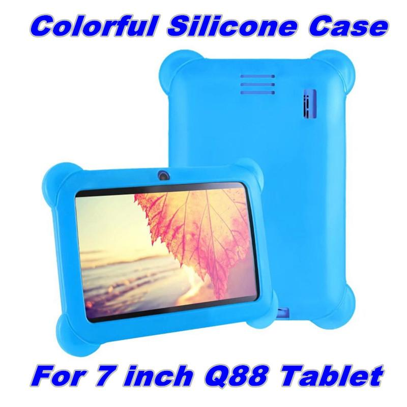 """Kids Children Soft Colorful Silicone Rubber Gel Case Cover For 7"""" 7 Inch Q88 Q8 A33 A23 Android Tablet pc MID Free shipping 11 color"""