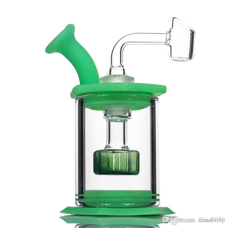 """4.5 """"Assembler le percolateur de pommeau de douche en verre de bang de silicone Facile nettoyer les plates-formes propres avec le tube de silicone de banger de quartz de 4mm mini verre bongs"""