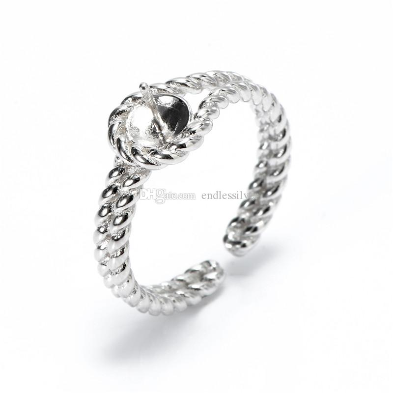 Twist Double Band Ring Pearl Settings 925 Sterling Silver Blanks DIY Jewellery Findings for Pearl Party