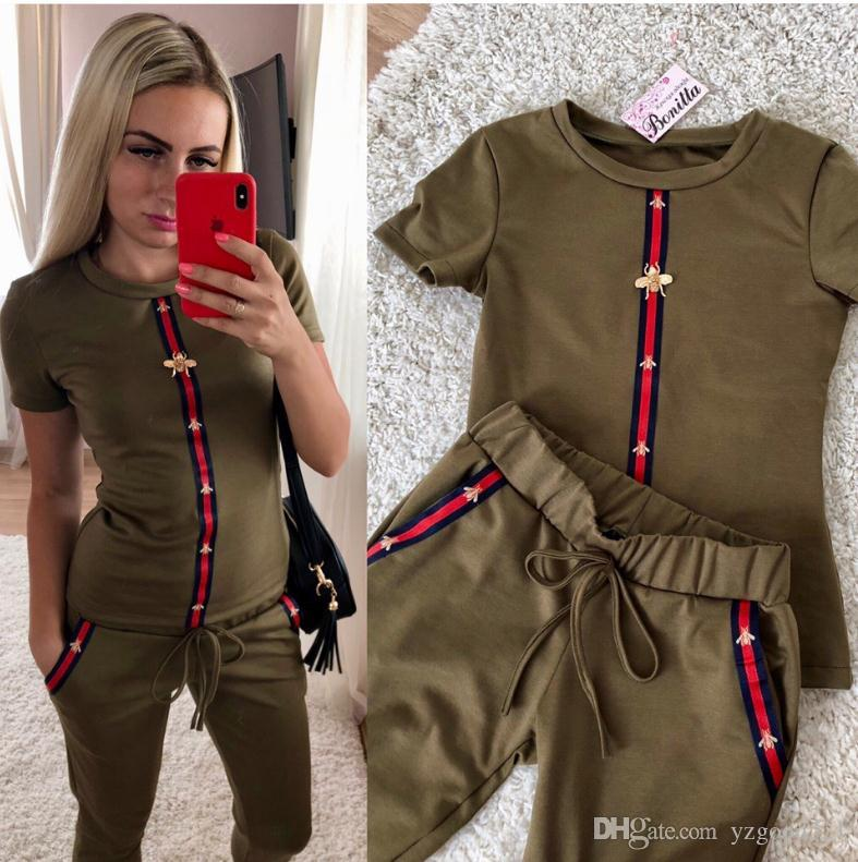 Summer fashion women two piece clothing sets short-sleeve shirts and pants casual outfits tracksuits Fitness Sports Suit