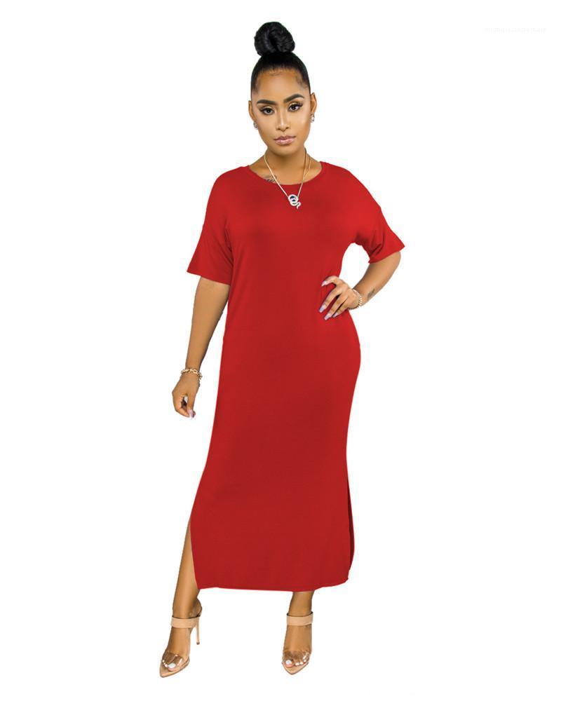 O longueur cheville vêtements pour femmes de couleur unie Robes d'été Taille Plus manches demi de Split Ladies Robe Femme
