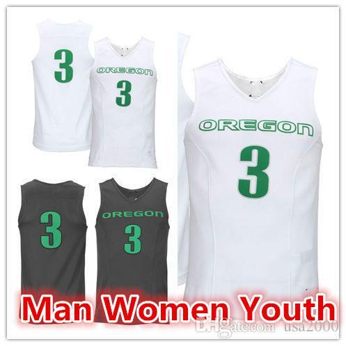 customize NCAA # 3 Oregon Ducks femmes homme de basket-ball des jeunes maillot Collège un nombre nom taille S-5XL