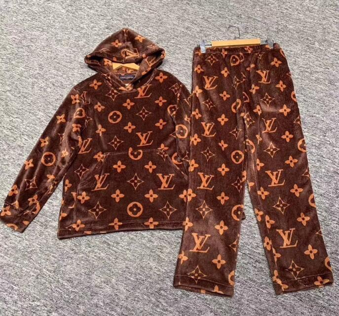 Louιs Vuιtton alta calidad pijamas de los hombres y de las mujeres pijamas pijamas de las mujeres de los hombres con capucha y cálidos, pijamas,