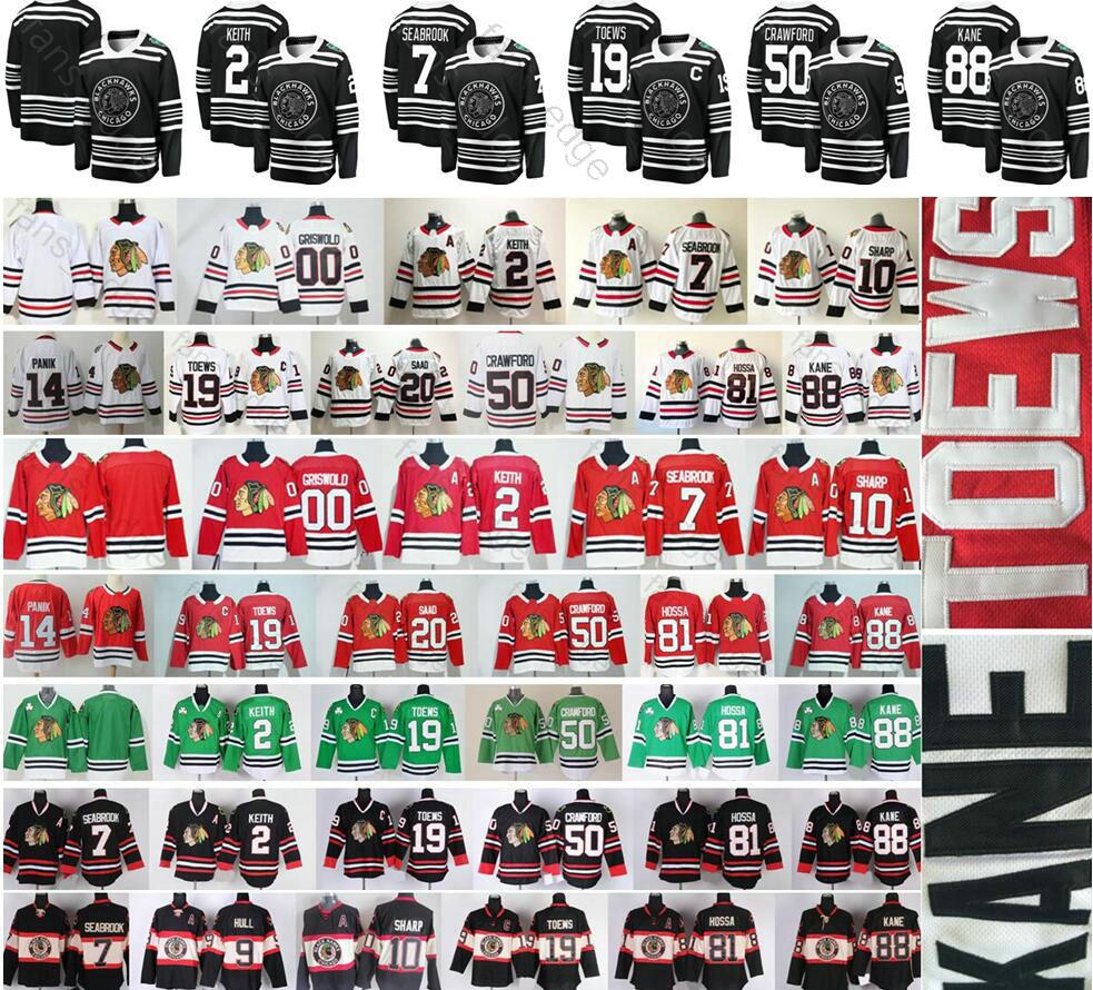 2019 Winter Classic Chicago Blackhawks Hockey 19 Jonathan Toews 88 Patrick Kane 12 DeBrincat 2 Keith Clark Griswold 00 Corey Crawford Jersey