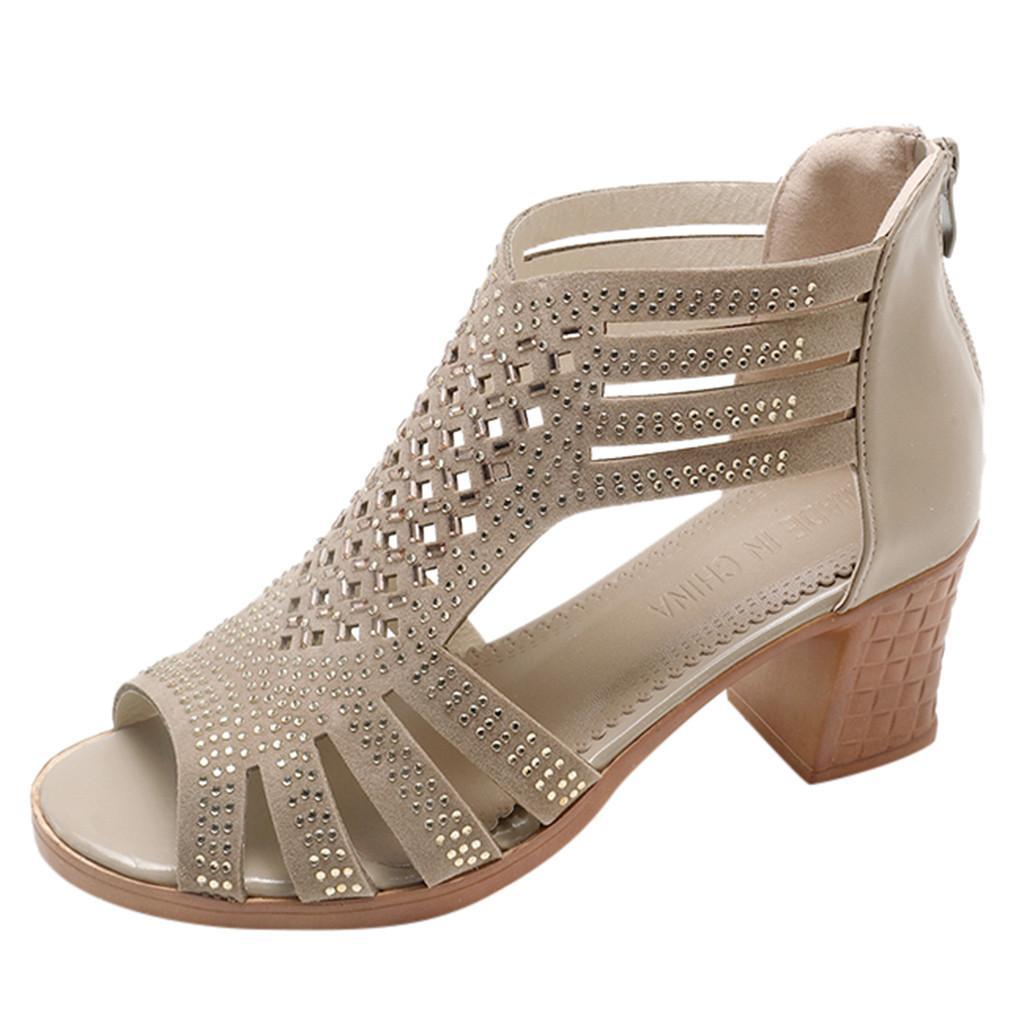 SAGACE лето римских сандалий женщина дама клин сандалия мода Кристалл Повседневный рыбы рот Полой обувь молния леди обувь Y200107